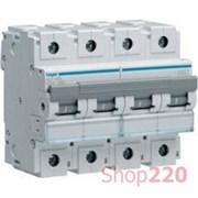 Автоматический выключатель 100 А, 4 полюса, С, HLF490S Hager