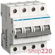 Автоматический выключатель 16 А, 4 полюса, С, MC416A Hager