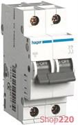 Автоматический выключатель двухполюсный 63 А, уставка С, MC263A Hager