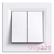 Выключатель двухклавишный, белый, EPH0300121 Schneider Asfora