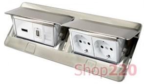 Люк для установки в стол или пол, 8 модулей, нержавеющая сталь, 54023 Legrand