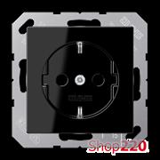 Розетка электрическая (механизм), черный, Jung A500 A1520SW