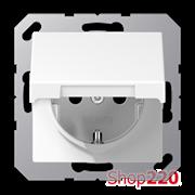 Розетка электрическая с крышкой (механизм), белый, Jung A500 A1520KLWW