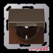 Розетка электрическая с крышкой (механизм), мокка, Jung A500 A1520BFKLMO