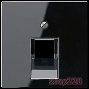Накладка для телефонной и компьютерной розеток, черный, Jung A500 A569-1PLUASW