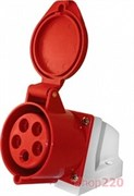 Силовая розетка 16А, 380В, 5 полюсов, стационарная, e.socket.pro.5.16