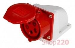 Силовая розетка 32А, 380В, 5 полюсов, стационарная, e.socket.pro.5.32