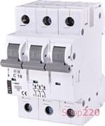 Автоматический выключатель 16А, 3 полюса, тип C, Eti 2185316