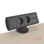 Блок розеток на стол 220В + USB для зарядки, черный, Axessline Desk Kondator