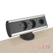 Блок розеток на стол 220В + кабельный вывод, алюминий/черный, Axessline Desk Kondator