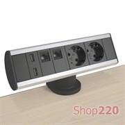 Блок розеток на стол 220В + USB + RJ45, алюминий/черный, Axessline Desk Kondator