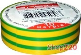 Изолента самозатухающая, 10м, желто-зеленая, e.tape.pro.10.yellow-green Enext p0450007