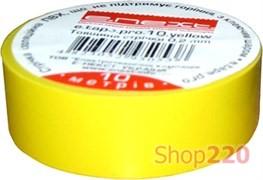 Изолента самозатухающая, 10м, желтая, e.tape.pro.10.yellow Enext p0450002