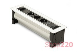 Вращающийся блок розеток 3х220В + USB, белое стекло, Versaturn ASA 060.24F.00001