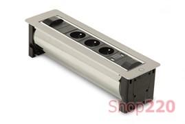 Вращающийся блок розеток 3х220В + USB, нержавеющая сталь, Versaturn ASA 060.24F.00003