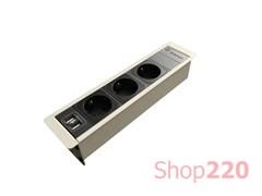 Врезной блок розеток 3х220В + USB, белый, Versaframe ASA 060.32F.00007