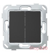 Выключатель двухклавишный, антрацит, PLK0121241 Plank Electrotechnic