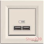 USB розетка, слоновая кость, EPH2700223 Schneider Electric Asfora