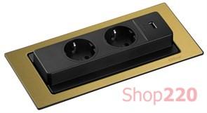 Вращающийся блок розеток 220В+USB, латунь, EVOline BackFlip