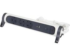 Удлинитель на 3 розетки 16 А с USB A+C, с УЗИП, кабель 1,5 м, белый/черный, премиум 694508 Legrand